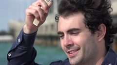 Man Combing Hair Stock Footage