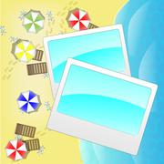 Illustration of beach from above with photo frames - stock illustration