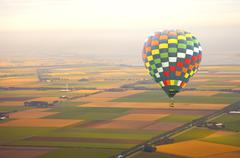Aerial view at air balloon with Dutch landscape Stock Photos