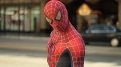 Spiderman On Side Of The Road Stock Footage