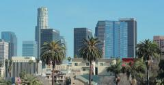 Los Angeles downtown buildings skyline view from MacArthur Park Stock Footage