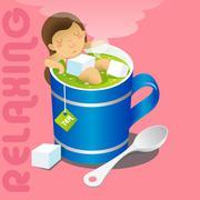 girl in blue mug of hot gree tea - stock illustration