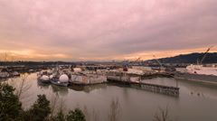 Time Lapse of Sunset at the Largest Drydock in North America in Portland Oregon Stock Footage