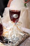 wedding glass of red wine - stock photo