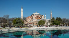 Time Lapse Photography, crowd visiting Hagia Sophia Stock Footage