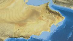 Oman, glide over the map, outlined Stock Footage