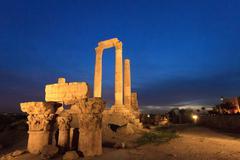 Temple of Hercules in Amman Citade at Nightl, Al-Qasr site, Jord - stock photo