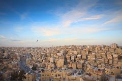 Landscape view from above with Amman Citadel, Jordan Stock Photos