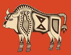 Original ethnic tribal bison drawing Piirros