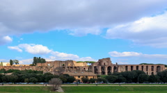 Ruins of the Palatine Hill is the centermost of the Seven Hills. TimeLapse, Stock Footage