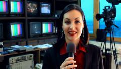 TV reporter in studio Stock Footage