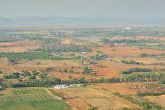 Aerial view of farmland in Nakornrachasrima or Korat Thailand - stock photo