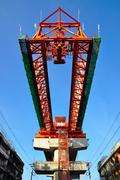 The steel structure of railway bridge Stock Photos