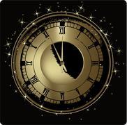 Gold clock - stock illustration