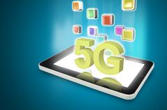 Tablet PC with 5G Stock Illustration