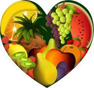 Fruit heart - stock illustration