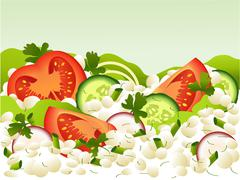 Cottage cheese meal - stock illustration