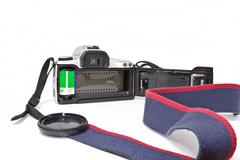 A 35mm SLR Camera open from the back - stock photo