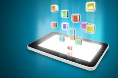 Tablet PC with cloud of colorful application icons Stock Illustration