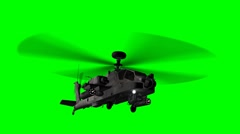 armed Helicopter AH-64 Apache in fly - green screen - stock footage