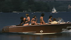 Wörthersee 1977: people in a motorboat Stock Footage