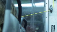 yellow stop request cable in bus - stock footage