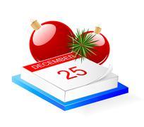 Desktop calendar and Christmas decoration - stock illustration