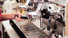 Coffee espresso preparation - stock footage