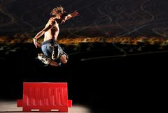 Inline rider jumps Stock Photos