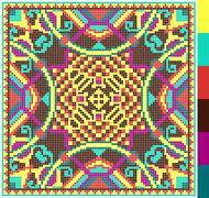Geometric square pattern for cross stitch ukrainian traditional Stock Illustration