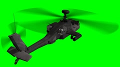 Armed Helicopter AH-64 Apache in fly - green screen Stock Footage