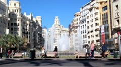 The Fountain in the Plaza del Ayuntamiento in Valencia, Spain. Stock Footage