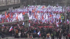 Funeral March of the opposition memory of the murdered politician Boris Nemtsov - stock footage