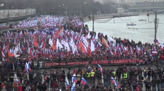 Funeral March of the opposition memory of the murdered politician Boris Nemtsov Stock Footage