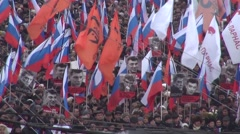 Portraits of Boris Nemtsov on the March opposition - stock footage