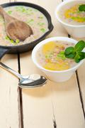 Hearty Middle Eastern Chickpea and Barley Soup - stock photo