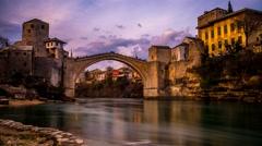 Stock Video Footage of Mostar Old Bridge Timelapse 4K