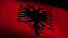 National flag of  Albania, grunge, low angle Stock Footage