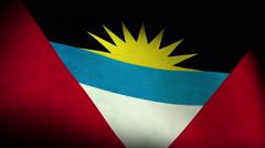 National flag of Antigua and Barbuda, low angle, grunge Stock Footage