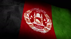National flag of Afghanistan low angle, grunge Stock Footage