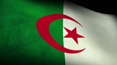 Stock Video Footage of National flag of Algeria, low angle, grunge
