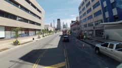 Getting around the city center on a sunny day. Stock Footage