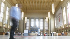 People move at hall of station in Philadelphia. Stock Footage