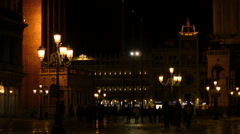Venice Italy - St Mark square at night - stock footage