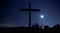 Cross, Moon, and Stars Time-Lapse Stock Footage
