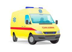 Yellow ambulance van - stock illustration