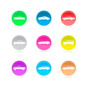 Cars circular icons Stock Illustration