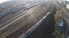 Moving train. Drone shooting Stock Footage