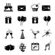 Set of celebratory icons, symbols Stock Illustration