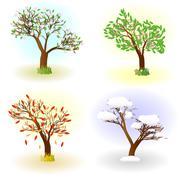 Four seasons of love - stock illustration